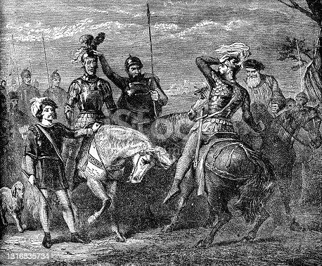 La leyenda de El Cid (Rodrigo Díaz de Vivar) atado a su caballo después de la muerte por la moral de las tropas - Siglo XII