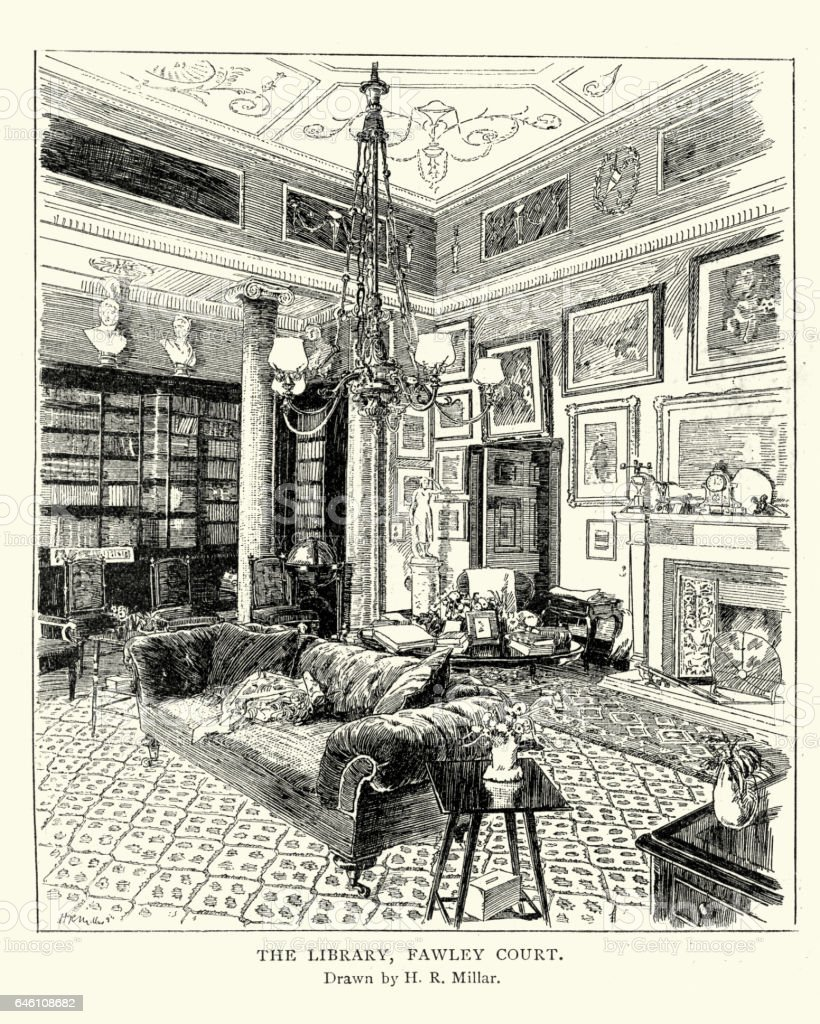 The Library at Fawley Court, Henley-on-Thames vector art illustration