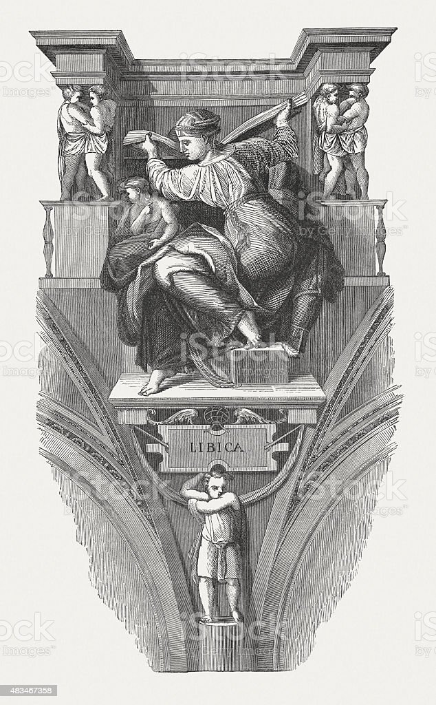 The Libyan Sibyl (Sistine Chapel, Vatican), published in 1878 vector art illustration