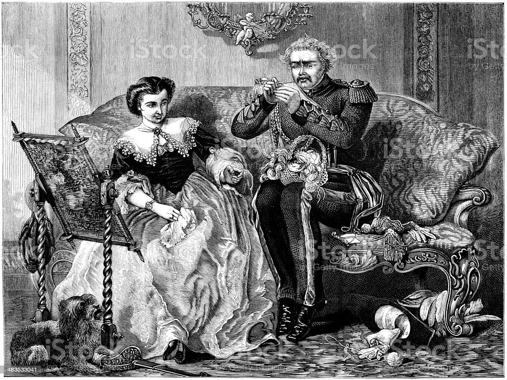 'The Lion in Love' Old Soldier wooing a young lady royalty-free the lion in love old soldier wooing a young lady stock vector art & more images of 19th century