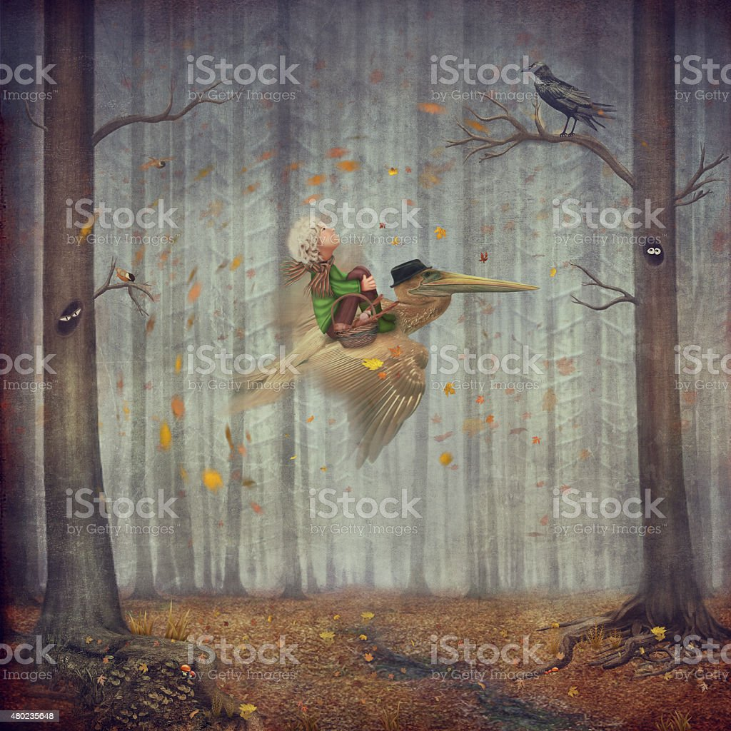 The little boy and brown pelican fly  in the autumn forest vector art illustration