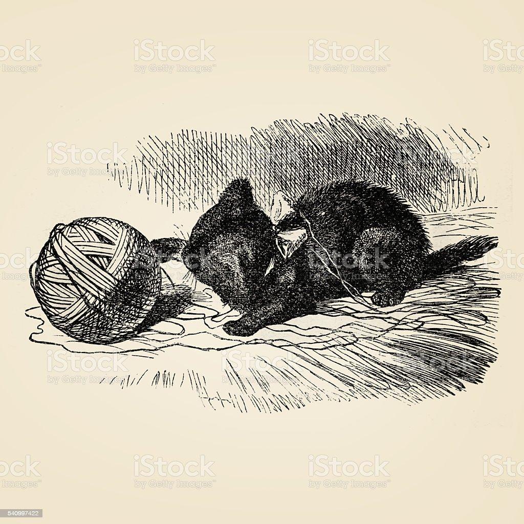 Mały Kot Grając Na Przędza 1899 Stockowe Grafiki Wektorowe I