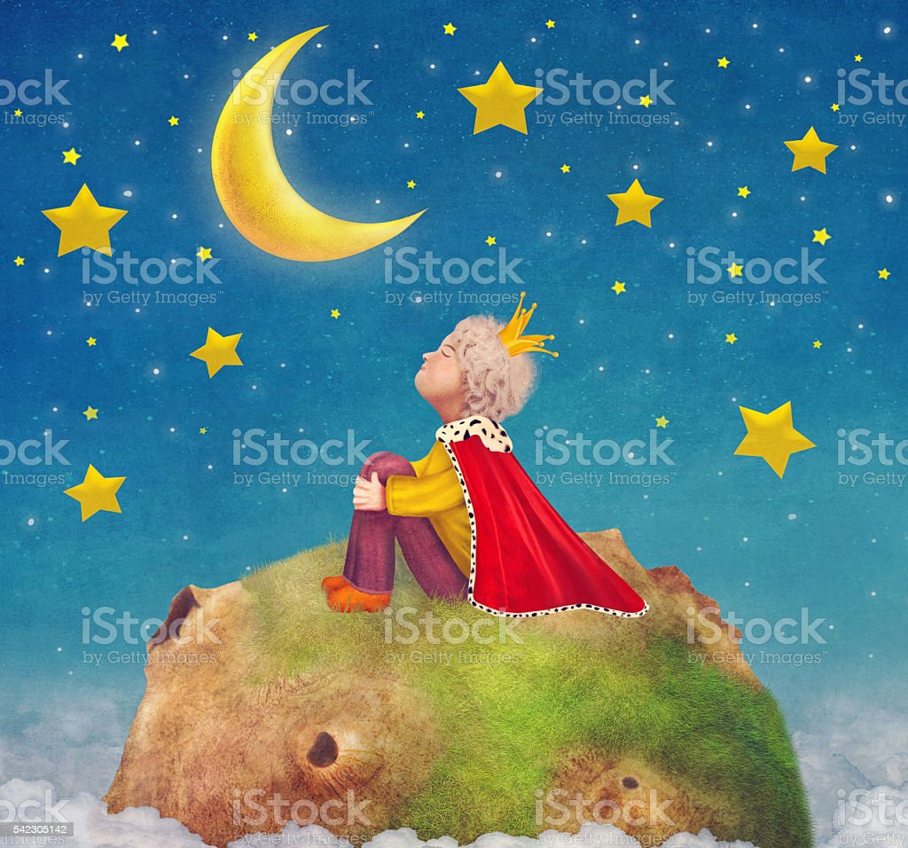 The Little Prince  on a planet  in beautiful night sky vector art illustration