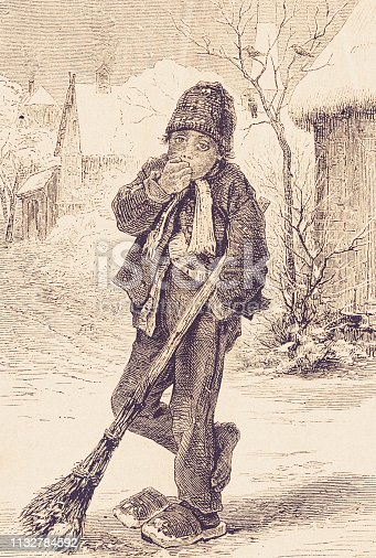 history, vintage, illustration, retro style,  19th Century Style, old, Boy, snow removal,