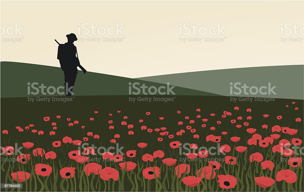The Lone Soldier vector art illustration