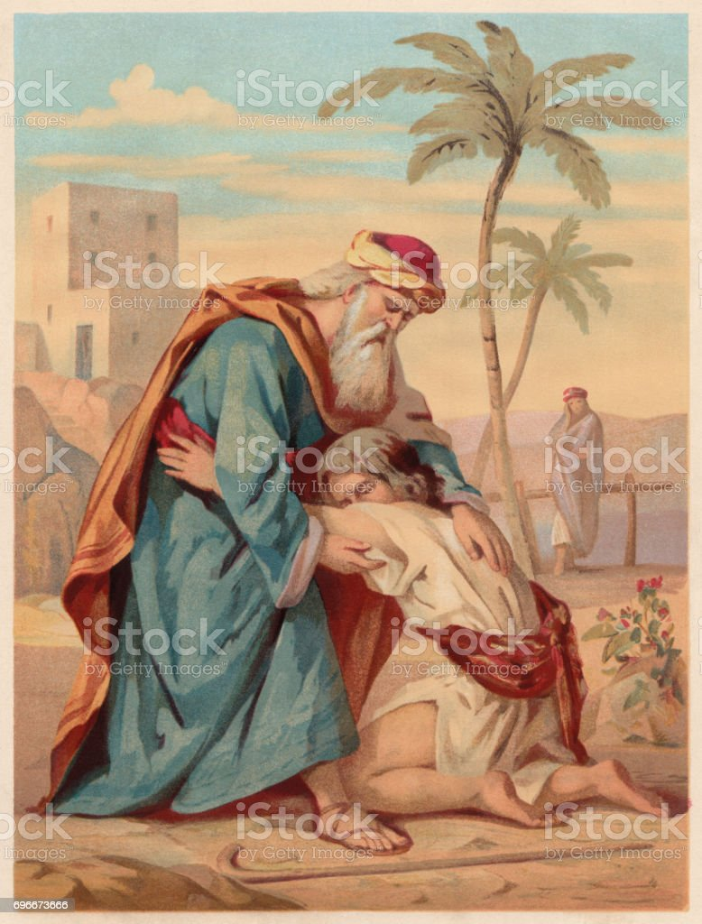 The Lost Son (Luke 15, 11-32), chromolithograph, published in 1886 vector art illustration