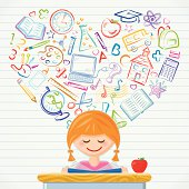 A cute schoolgirl loves learning about all school subjects. Layered File.