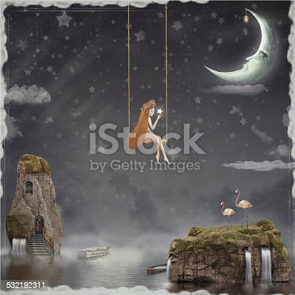 The lovely girl shakes on a swing in the night sky