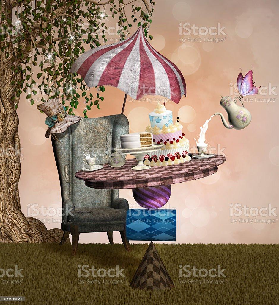La mad hatter banchetto - illustrazione arte vettoriale