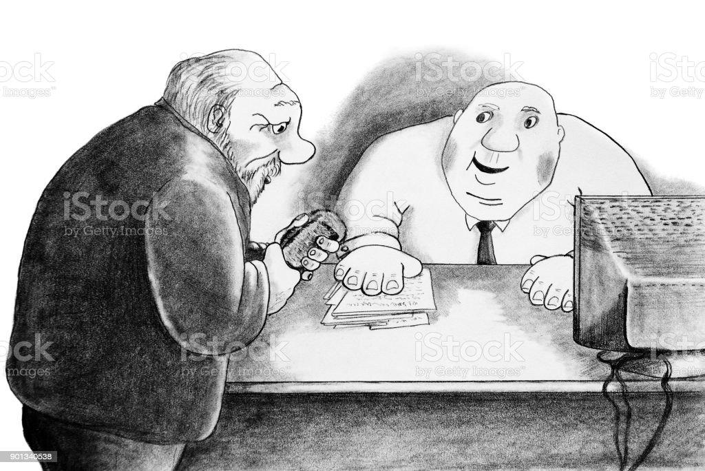 The man bent down and listens of the bureaucrat vector art illustration