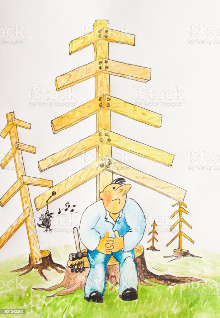The man on the stump listening to a mechanical bird. vector art illustration