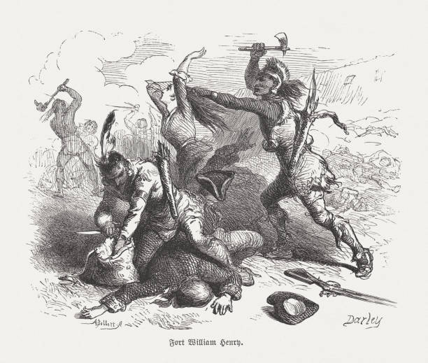 The Massacre of Fort William Henry by the Indians (1757) The massacre of Fort William Henry by the indians in August 1757. Wood engraving after a drawing by Felix Darley (American illustrator and engraver, 1824 - 1888), engraved by Albert (Alfred) Bobbett (American engraver, 1813 - 1888), published in 1876. mass murder stock illustrations