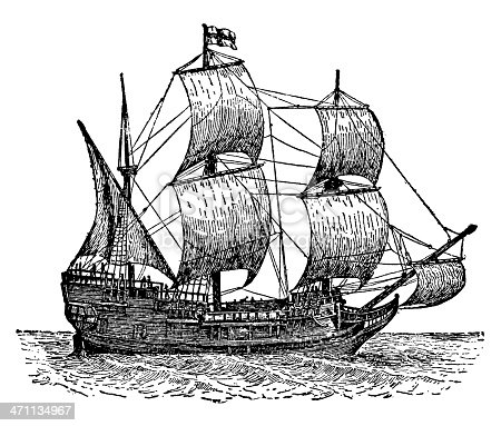 Old XIX century engraving of Mayflower, the ship that transported the first European settlers in North America.