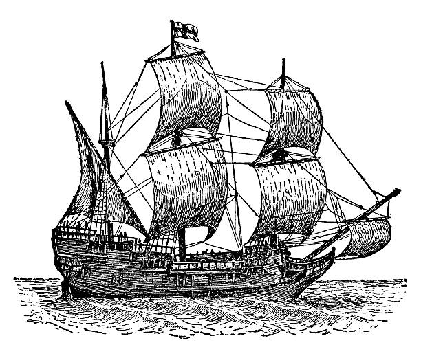 stockillustraties, clipart, cartoons en iconen met the mayflower ship - 18e eeuw