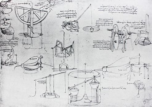 The mechanisms. Atlantic code 7 verso a. By Leonardo Da Vinci