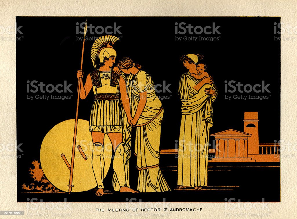 The meeting of Hector and Andromache vector art illustration