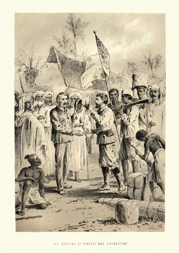 Vintage engraving of The Meeting of Stanley and Dr Livingstone. Upon finding Livingstone, Stanley reportedly asked, Dr. Livingstone, I presume ?