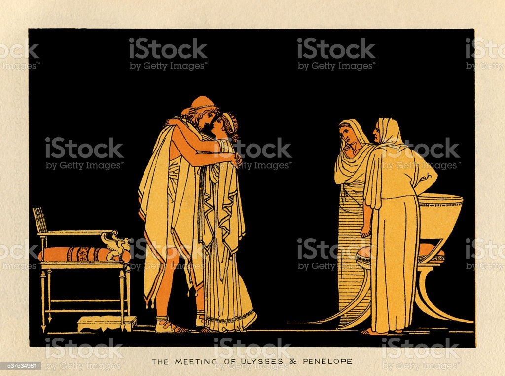 The meeting of Ulysses and Penelope vector art illustration