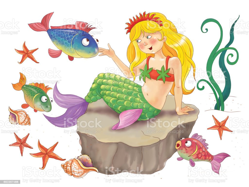 The Mermaid Fairy Tale Illustration For Children Coloring Page Cute ...