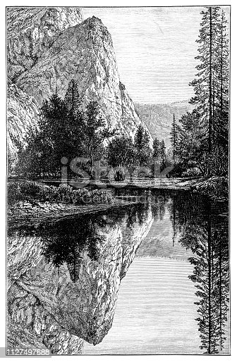Illustration of the mirror lake in California