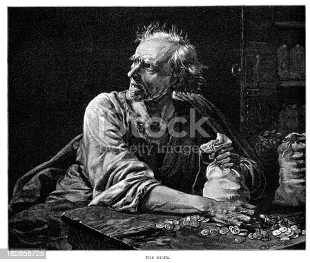 Vintage engraving of a greedy old man counting his money.