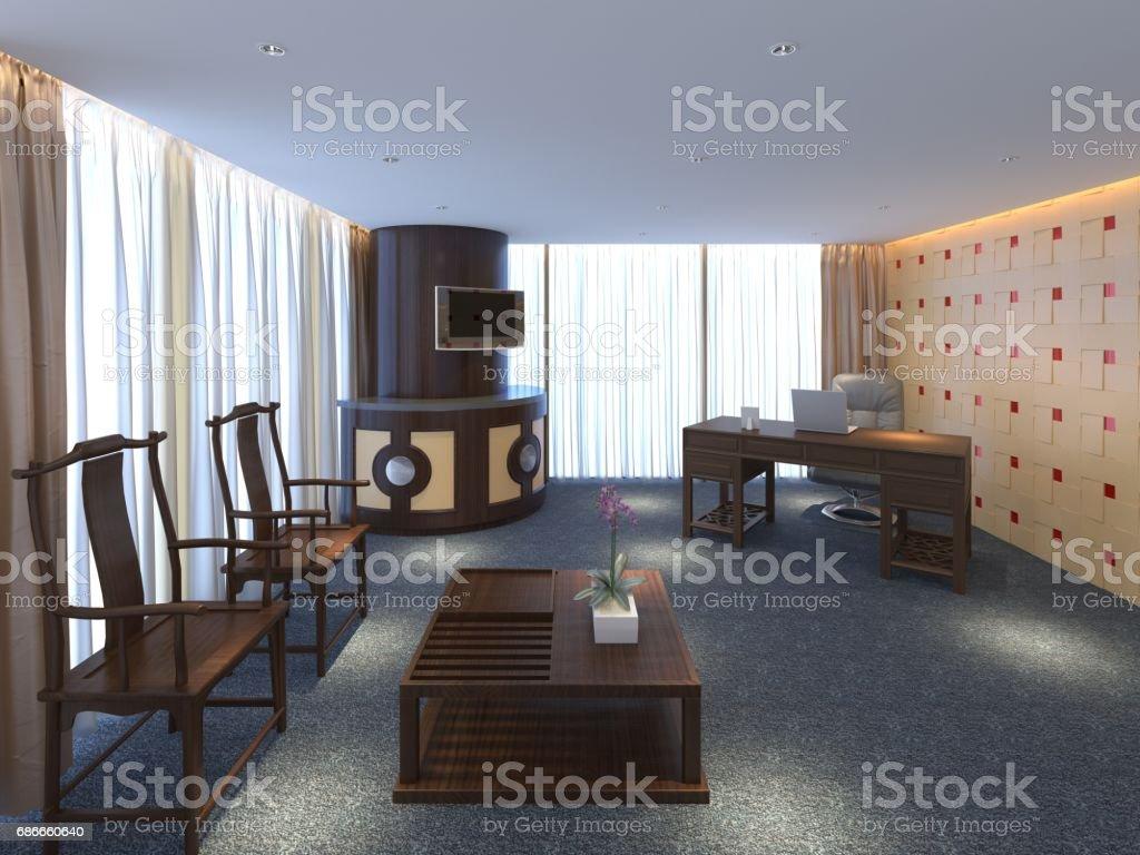 lintérieur de bureau moderne design illustration 3d – cliparts