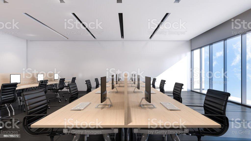 Le design dintérieur de bureaux modernes d rendering u vecteurs