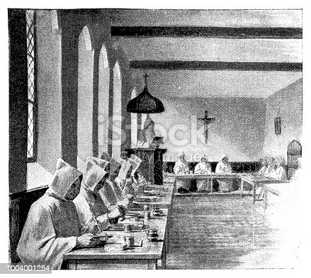 Illustration of the monastery refectory ,monks working