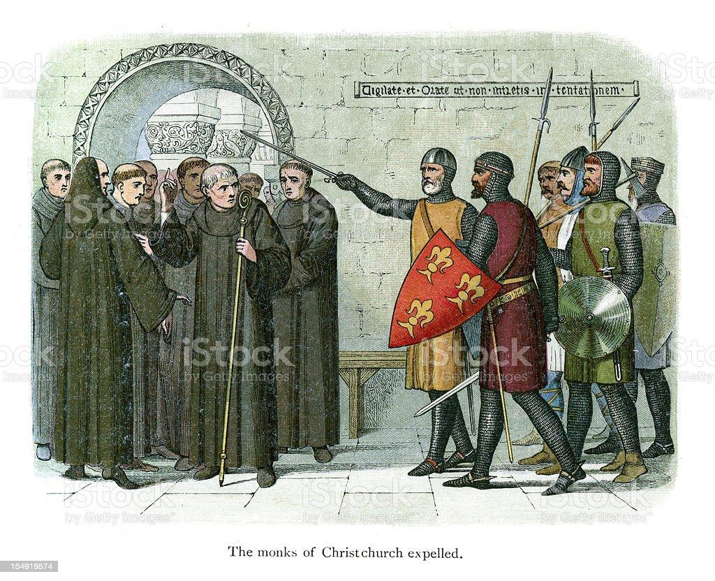 Los monjes de Christchurch expulsado - ilustración de arte vectorial
