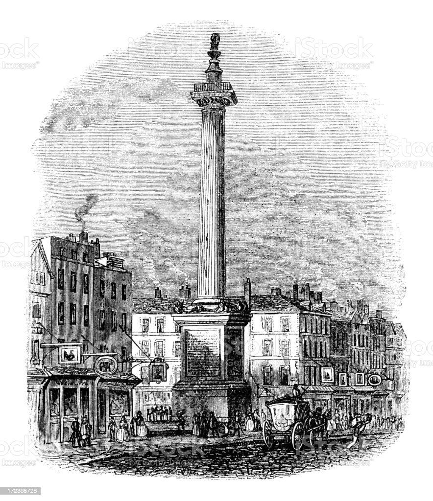 The Monument, City of London (Victorian woodcut) royalty-free stock vector art