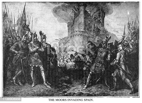 The Moors invading Spain - Scanned 1890 Engraving