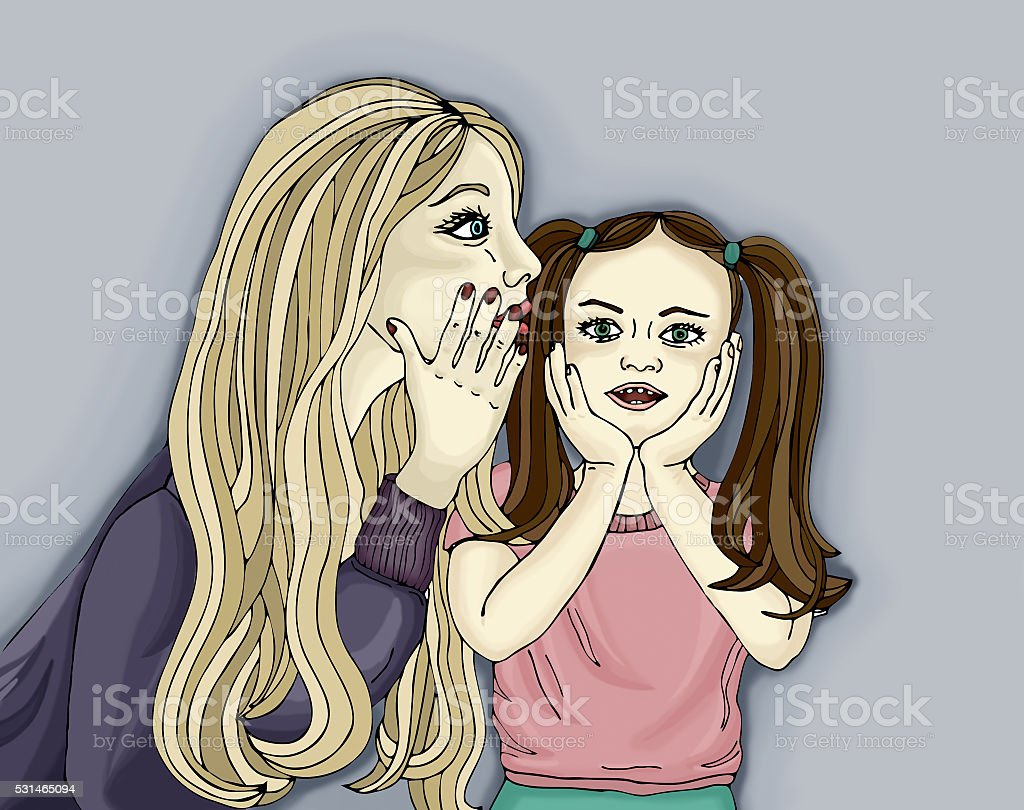 The mother whispering a secret into the ear. vector art illustration
