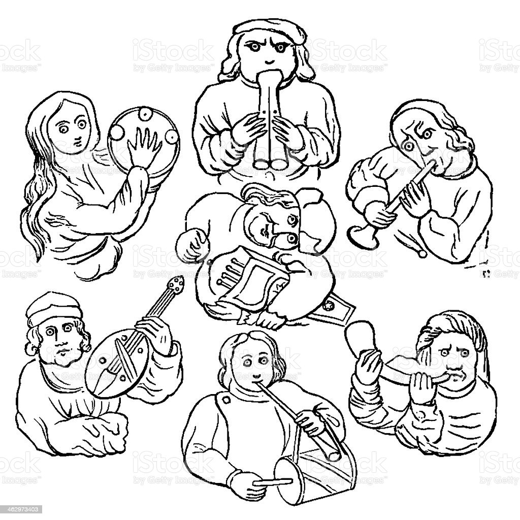 The Musicians 1883 Drawing vector art illustration