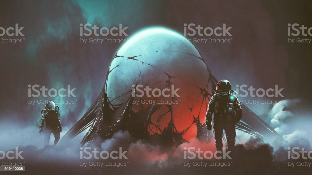 the mysterious alien egg vector art illustration