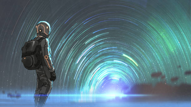 the mysterious starry tunnel entrance vector art illustration
