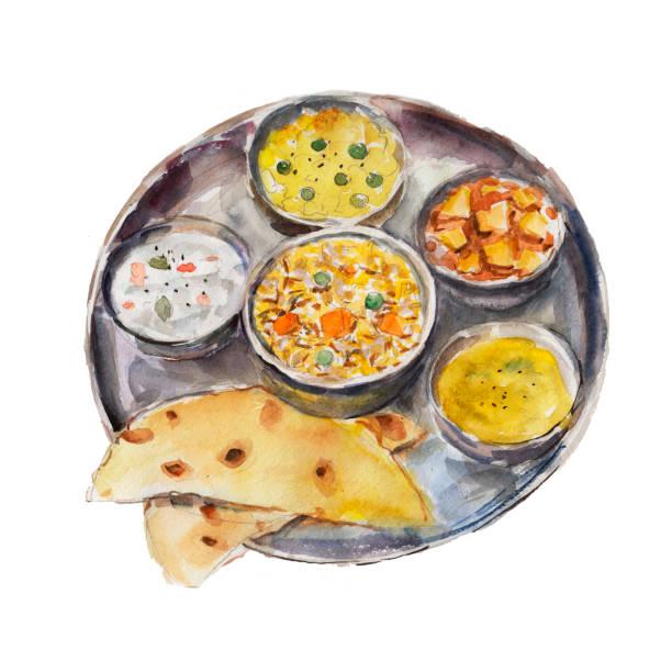 El plato nacional India thali aislado sobre fondo blanco, Ilustración acuarela estilo dibujado a mano. - ilustración de arte vectorial