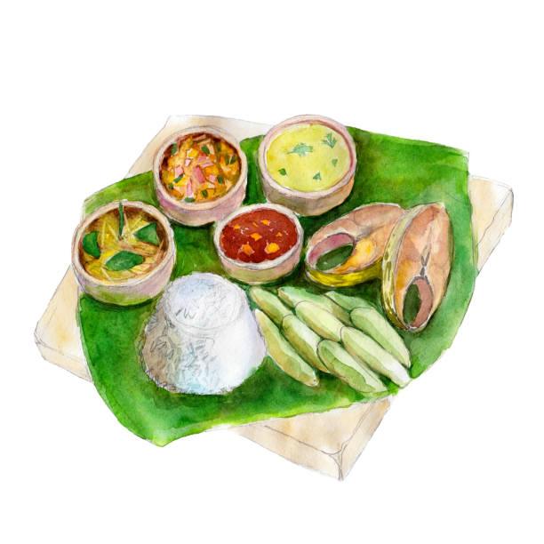 El nacional indio bengalí de alimentos en la hoja de un árbol de plátano, acuarela ilustración aislada sobre fondo blanco. - ilustración de arte vectorial