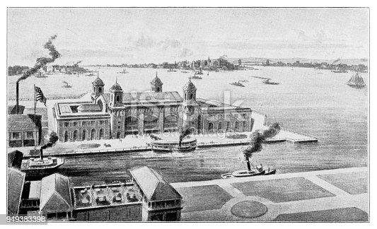 Illustration of a The new immigration palace in New York harbor