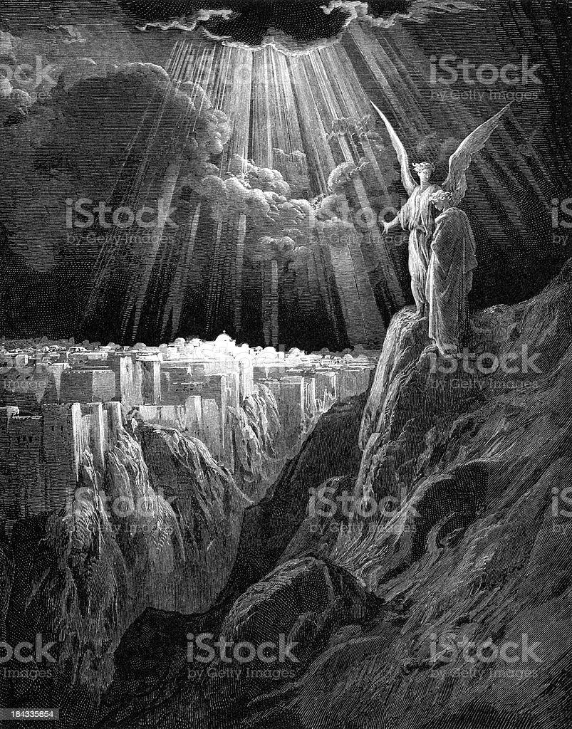 El nuevo Jerusalén - ilustración de arte vectorial