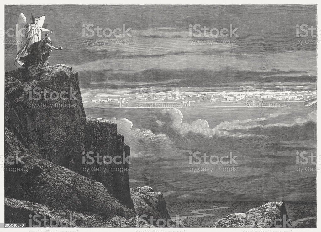 The new Jerusalem (Revelation 21), wood engraving, published in 1886 vector art illustration