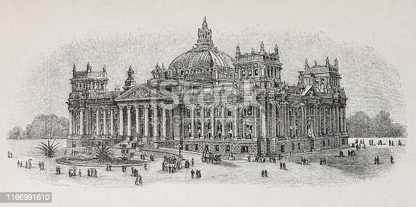 istock The new Reichstag - Illustration from 1894 1166991610