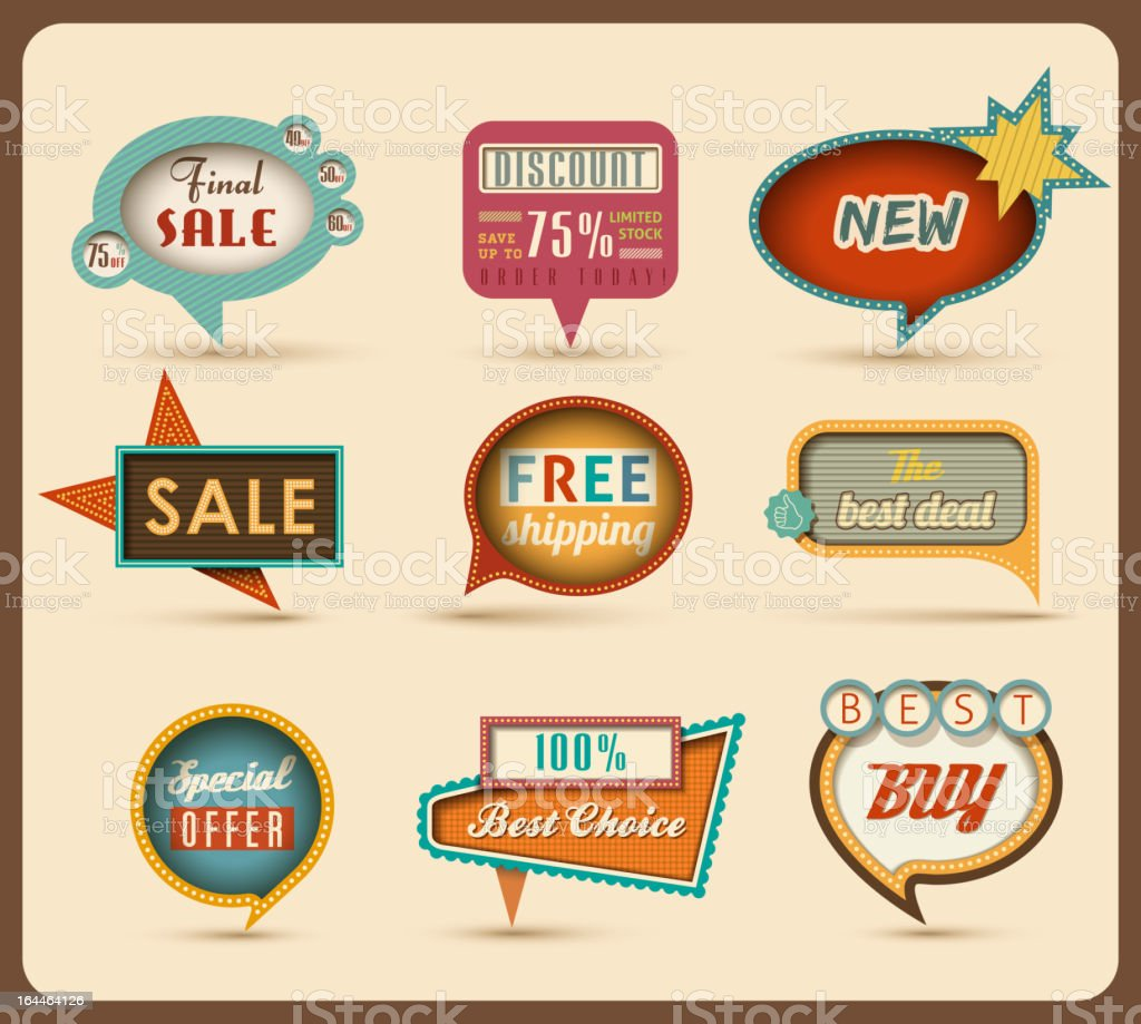 The new retro speech bubbles/signs collection. vector art illustration