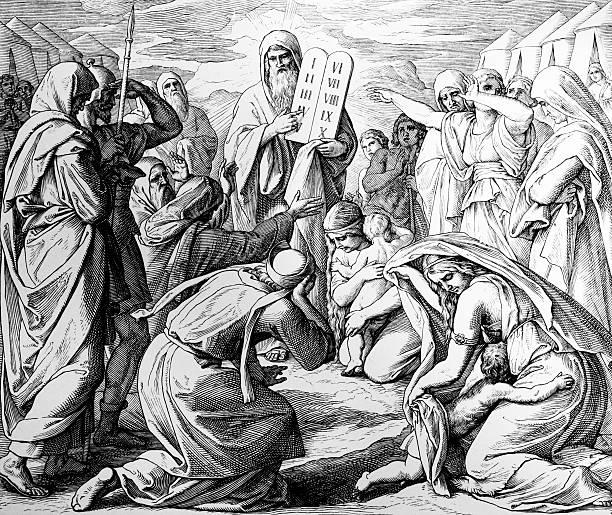 the new stone tablets - mimari illüstrasyonlar stock illustrations