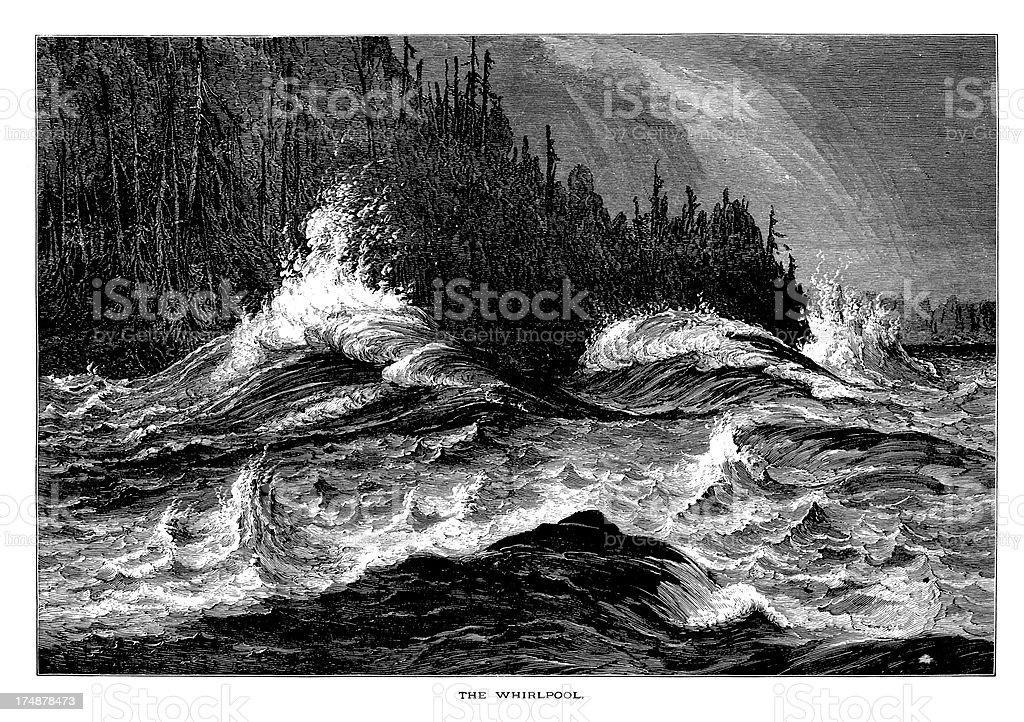 The Niagara Whirlpool, USA, wood engraving (1872) royalty-free stock vector art