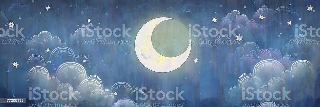 The night sky. Stars and Moon. vector art illustration