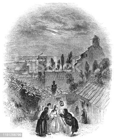 Dogberry and the watchmen plan the nights watch for the streets of Messina on the island of Sicily, Italy in Much Ado About Nothing from the Works of William Shakespeare. Vintage etching circa mid 19th century.