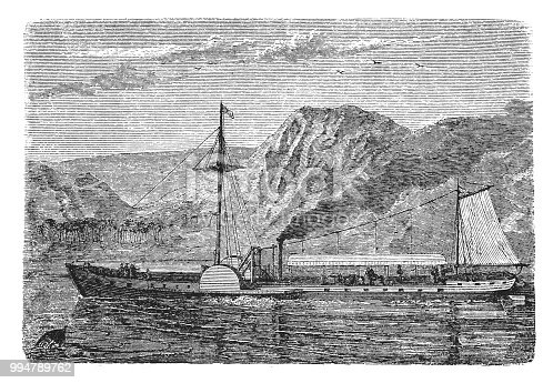 Illustration of the North River Steamboat or North River, colloquially known as the Clermont ,world's first steam vessel