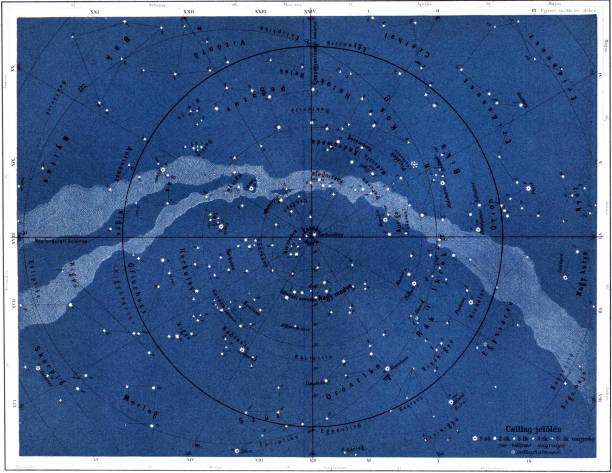 ilustrações de stock, clip art, desenhos animados e ícones de the northern sky - mapa das estrelas