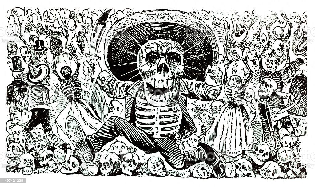La calavera Oaxaqueña Mexican skull vector art illustration