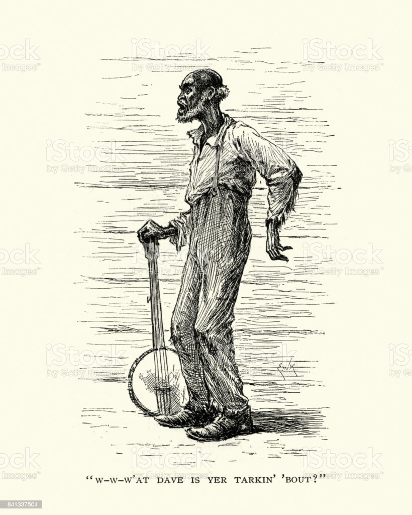 The old banjo player, 19th Century vector art illustration